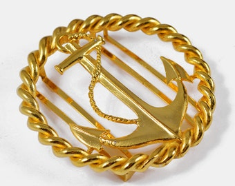 "Anchor motif Metal belt buckle, 2-5/8"" by 1 pc, Gold, LT-5476"