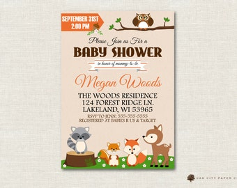Woodland Baby Shower Invitation, Baby Shower Invitation, Woodland Invitation, Woodland Baby Shower Invites, DIY, Instant Download, Editable