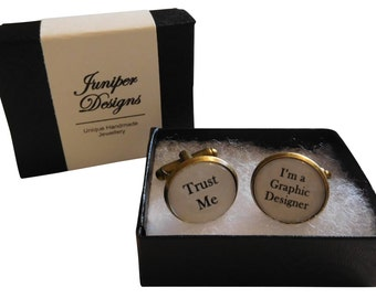 """Handcrafted """"Trust Me - I'm a Graphic Designer"""" Cuff links - Excellent Graphic Designer Gift for a Graphic Designer - Free UK Shipping"""
