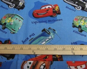 Free Ship Offer. Disney Pixar Cars Big Pictures on med. blue cotton. RARE print by Springs  See drop down for sizes.