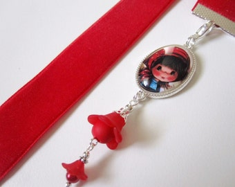 Velvet Ribbon Bookmark w/Young Girl Cabochon Charm