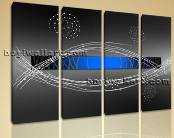 """Large 4 Pcs Modern Abstract Painting Home Room Decor Wall Art Print Canvas Blue, Abstract wall decor,  canvas print, 51""""x36"""""""