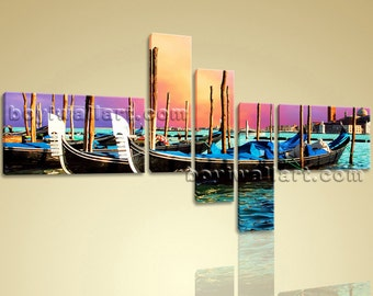 Abstract Seascape Boat Sunset Glow Print Canvas Wall Art for Living Room Decor, Huge Sunset Wall Art, Living Room, Paco