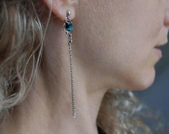 Long Chain Earrings Handmade Paua Earrings Silver Chain Earrings Boho Jewelry Edgy Jewelry