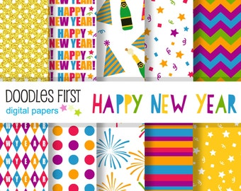 Happy New Year Digital Paper Pack Includes 10 for Scrapbooking Paper Crafts