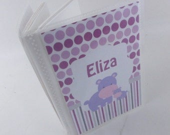 Baby Photo album, girl photo album 4x6 or 5x7 picture Book , Purple Hippo Personalized Baby Album , baby shower Gift 572