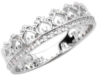 Womens Sterling Silver Micro Pave CZ Premium Elegant Crown Ring