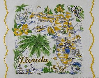 Vintage Florida State Souvenir Handkerchief by Franshaw (Inventory #M4508)