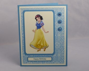 Stampin Up Handmade Greeting Card: Disney Princess Snow White Happy Birthday Card, Girl, Daughter, Granddaughter, Niece, Party Child