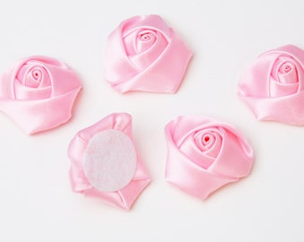 Fabric Rosette - baby pink