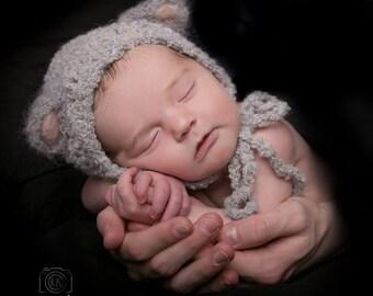 "Match size Crochet   ""Baby Lamb""  Bonnet - Newborn Photography Props- Baby Crochet Hat.Sheep hat."