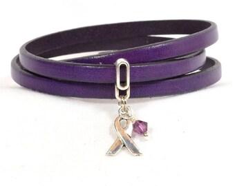 Domestic Violence Awareness Bracelet - Purple Triple Strand 5mm Flat Leather Wrap Bracelet with Magnetic Clasp (5FA-152)