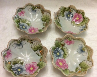 Vintage Te Ho China hand painted Nippon china lotus flowers bowls. Free ship