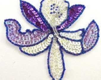 "Orchid Flower Applique, Sequin Beaded, 4.5"" x 4.5""  -5233-0252-0037"