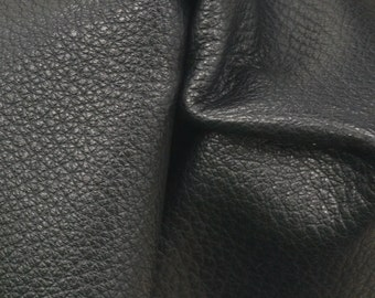 """Black Leather New Zealand Deer Hide 8"""" x 10"""" Pre-cut 2-3 ounces flat grain EL-41775 (Sec. 3,Shelf 4,A)"""