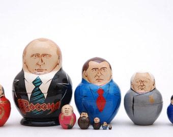 Russian politicians leaders Putin, Medvedev, Stalin, Lenin,  Eltsyn, Gorbachev, Matryoshka  nesting doll 10 pc Free Shipping plus free gift!