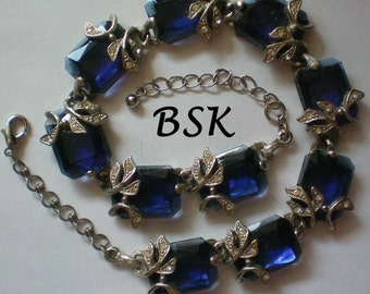 Signed Designer BSK Blue Emerald Cut Stone Necklace - 4724