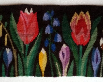 Scandinavian Swedish multicolor handwoven  wall hanging with flowers in flemish technique from 1960s.