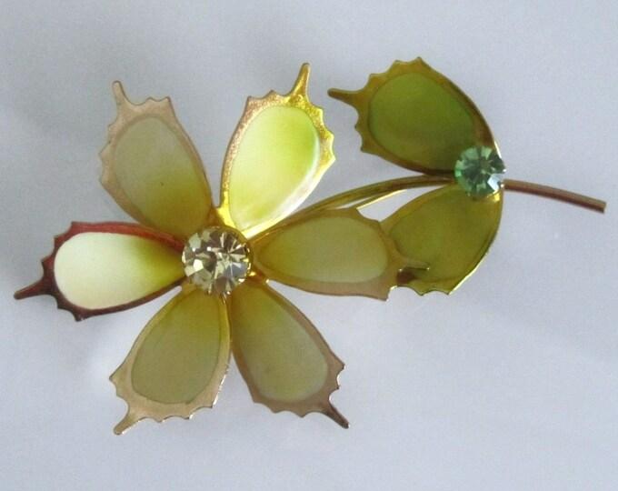 Metal Enamel Vintage Rhinestone Flower Pin Brooch