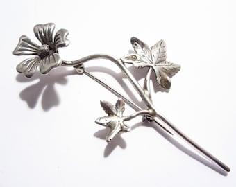 Vintage Handcrafted Sterling Long Flower Brooch