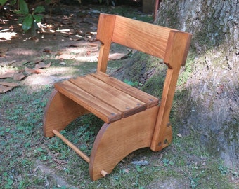 Stained Step Stool That Folds into a Chair