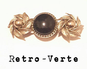 Vintage Upcycled Black & Silver Flower 1950s French Clip Barrette Pin Up Retro