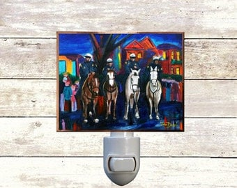 "Night Light, ""Mounted Police"", New Orleans Icons,  Handmade, Copper Foiled"