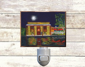 "Night Light, ""The Mill"" New Orleans Bars, Handmade, Copper Foiled"