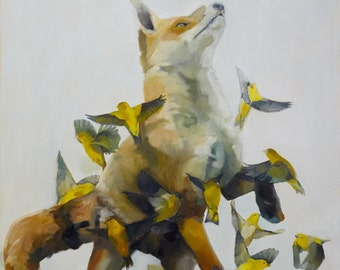 """Fine Art Print of """"Fox and Finches"""""""