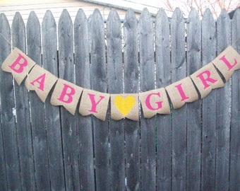 Pink BABY GIRL Burlap Banner for Baby SHOWER Bunting Photo Prop Sign Garland