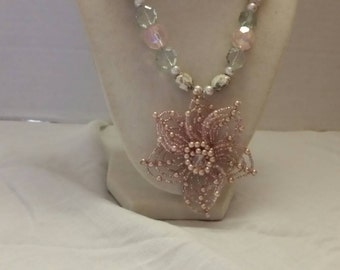 Pink Flower Necklace Pink Bridesmaid Necklace Bridesmaid Gift Statement Necklace Wedding Necklace SByourself Necklace One Of A Kind Necklace