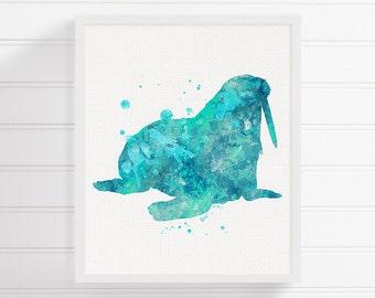 Watercolor Walrus - Walrus Art Print - Walrus Painting - Walrus Poster - Nursery Decor - Coastal Wall Decor, Sea Life Art, Sea Animal Art,