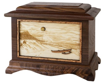 Walnut Tropical Beach Ambassador Wood Cremation Urn