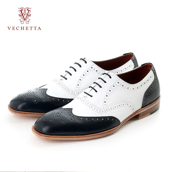 oxford wingtip handcraft shoe black and white colour