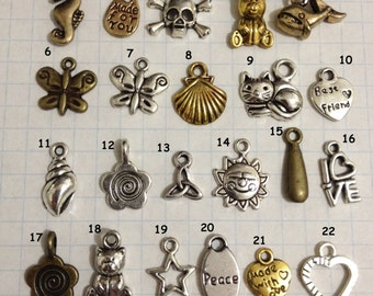 Small Metal Charms to add to your Friendship bracelets - 74 options