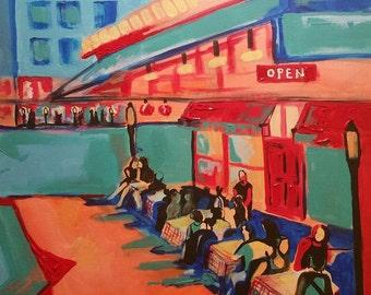 ORIGINAL 24 x 24 x 3, Somewhere Cafe, cityscape, people, cafe, bistro, dusk, street lights, figurative