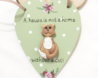 cat plaque, cat lover gift, cat sign, hanging heart, new kitten, polymer clay cat, cat gift, cat wall hanging, new home gift, hanging heart