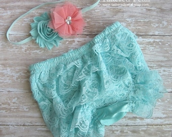 Aqua bloomer, mint bloomer, mint and coral, turquoise bloomer, lace bloomer, ruffle bloomers, lace bloomer, lace diaper cover