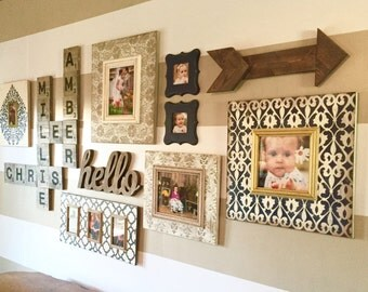 Set of Seven Distressed Frames in Navy, Slate Gray and Vintage White with Moroccan Patterns, Damask and Scroll