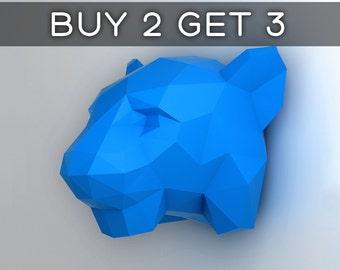 Tiger Head - 3D papercraft model. Downloadable DIY template