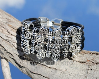 black, multistrand Leather Bracelet