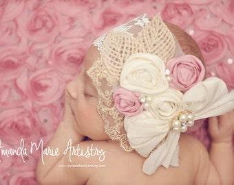 Baby Headband Pink Ivory Dupoini Silk Ivory Headband with Sparkling Rhinestone Lace Elastic Baby Girl Toddler Girl