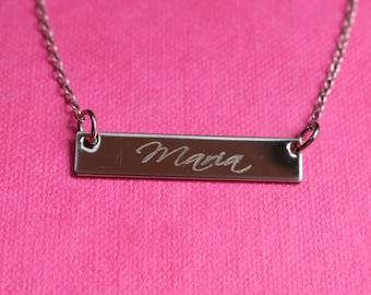 Bridesmaid Gift Idea, Personalized Bridesmaid Bar Necklace, Wedding Gift Idea, Wedding Jewelry Idea, Wedding Favor
