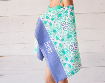 Personalized Beach Towel-Sea Tile