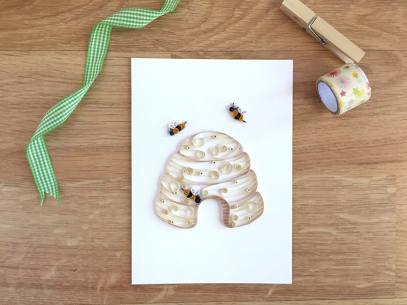 Quilling paper beehive home decor honey bee art bumblebee for Quilling home decor