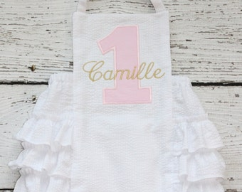 Pink and Gold Sunsuit Monogrammed, First Birthday Ruffle Bubble, White Ruffle Bottom Bubble
