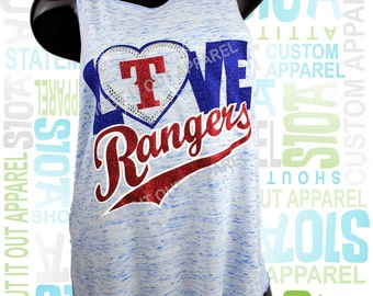 Texas Rangers tees tanks.glitter.baseball glitter tanks.Texas baseball tanks.F