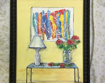 """Abstract Near Table -- 16 X 20 """" Framed Original Painting"""