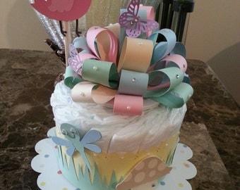 One Tier Summertime Pastel Diaper Cake / Diaper Cake For Baby Girl / Baby Shower Centerpiece / Elegant Diaper Cakes /  Baby Shower Gift