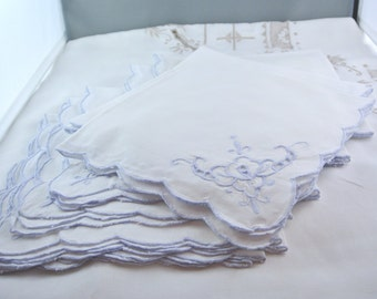 Set of 12 Vintage Periwinkle Cotton Table Napkins